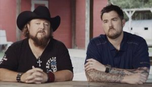 Colt Ford and Marcus Luttrell on set of the 'Workin' On' short film and PSA. 2015-03